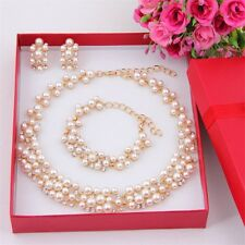Imitation Pearl Gold Plated Simple Elegant Bridal Jewelry Sets Kit Gift UL