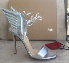 NIBChristian Louboutin SAMOTRESSE Wing Leather Heels  Silver Shoes  37.5EU $895