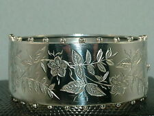1893 VICTORIAN SOLID SILVER HINGED BANGLE BRACELET STERLING STUNNING CONDITION !