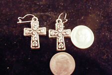 bling sterling silver plated religious cross crucifix christian ear ring hip hop