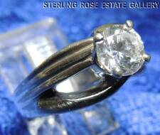 DIAMONIQUE 6mm rd STERLING SILVER 925 ESTATE SOLITAIRE ENGAGEMENT RING size 7