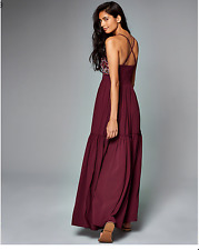 NWT Abercrombie & Fitch Women's Embroidered Maxi dress Maroon Small S New Boho