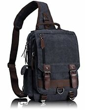 Leaper Mens Small Canvas Shoulder Messenger Cross Body Sling Briefcase Bag Rucks