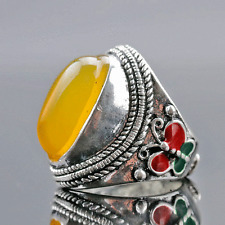 Chinese Exquisite Tibet Silver Inlaid Beeswax Handwork National Fashion Ring!