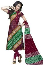 Vatika Women's Cotton  Unstitched Dress Material(D05_Green & Maroon_Free size)