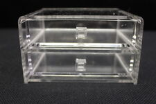 NOS Vintage Tamus Clear ACRYLIC 2-Drawer Desktop Storage Chest, Jewelry Box 1630