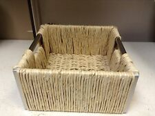 Square Maize Seagrass Woven Basket Tray with Metal Handles Storage Decor