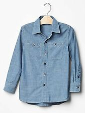 NWT GAP KID'S BOY'S CHAMBRAY SHIRT 100% COTTON