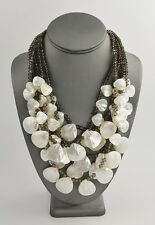 5 STRAND SMOKY QUARTZ MOTHER OF PEARL MOP & SILVER DESIGNER STATEMENT NECKLACE