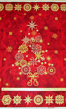 "Stonehenge Starry Night Red Christmas Tree Northcott Fabric Panel  23""  #20101M"