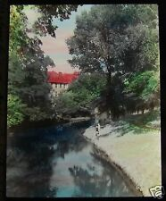 Glass Magic lantern slide AVON RIVER HAGLEY PARK CHRISTCHURCH C1920 NEW ZEALAND