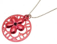 Ladies fashion necklace red disc and floral design 516