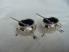 PR SALT BOWLS & SPOONS VICTORIAN STERLING SILVER LONDON 1862