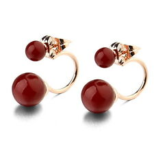 18k Rose Gold Filled Two Way Wear Bridal Red Pearl Stud Dangle Earring XE115