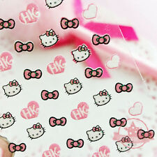 Self Adhesive Light Pink Hello Kitty Bow Heart Nail Art Stickers Transfer Decals
