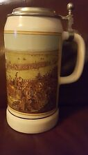 """Vintage GERZ West Germany Stoneware Beer Stein with Lid . 9""""tall .1862 Scene."""