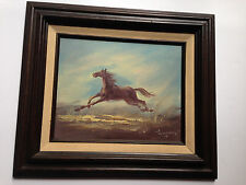 VTG American Artist Fred? WAGNER Oil Painting on Canvas Stallion Horse Mint