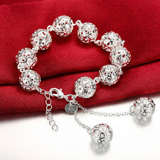 925 Sterling Silver Filled 14mm Filigree Hollow Heart Ball Charm Bracelet Bangle
