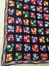 Black Rainbow Edge Multi-Color Granny Squares Crochet Afghan Throw Blanket 84x57