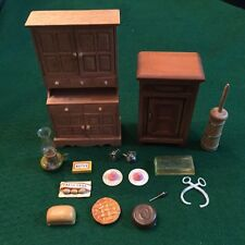 Vintage Dollhouse Miniature Furniture Accessories Lot - Hutch, Ice Box, Food...
