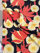 Rare VINTAGE 40-50's Crepe De Chine' Fabric Asian Art Nouveau  Stunning Dramatic