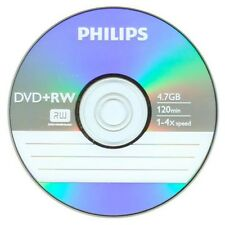 10 Pieces Philips Logo 4x Blank DVD+RW DVDRW ReWritable Disc with Paper Sleeves