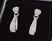 Chapado en Plata Claro Diamante Rhinestone Gota Pendientes Perforados Diseño de bucle