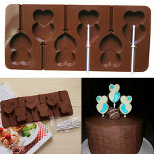 Lips Lollipop Cake Mold Flexible  Double Heart Candy Chocolate Silicone Mould