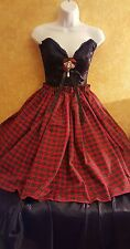 BLACK CORSET TARTAN PLAID NATURAL WAIST DRESS SET PARTY WEDDING BRIDAL CLUB PROM