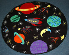 Kids Space Ship Solar System Planets Rockets Play Mat Non Slip Childrens Bedroom