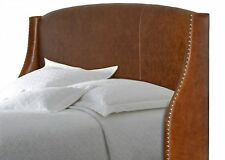 King size, Genuine Distressed Brown Leather Wing headboard for Bed w/ Nail Heads