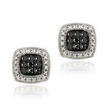 DB Designs Rhodium-plated Black Diamond-accent Square Earrings