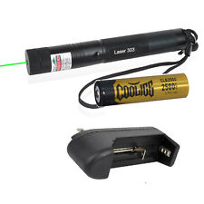 10 Miles 5mW 303 Green Laser Pointer Pen Beam Light+Cooligg Battery+Charger