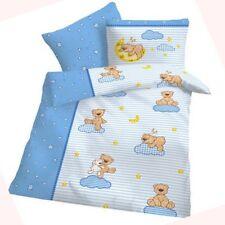 Baby Biber Bettwäsche Teddy Bär Weiß Hell-Blau 100x135 cm