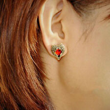 Hot Sale Red Heart Gems Retro Bronze Vintage Ear Stud Earrings New Gift Jewelry