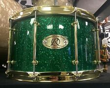 """Response Custom Drum Company 14x8"""" Green Glitter Snare Drum Excellent!"""