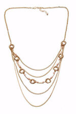 LAYERED ADJUSTIBLE GOLD NECKLACE W PEACH ACCENTS & GOLD CORD HOOPS (ZX55)