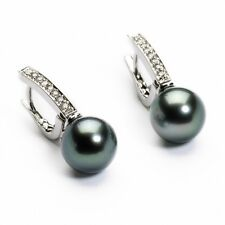 18Carat White Gold Tahitian Black Pearls & Diamonds Drop Pair Earrings 0.15cts