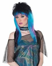 Sexy Ravin Wig Women's Blue Black Purple Costume Accessory Punk Rock 80's Spiked