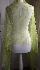 PURE 100% SILK lime green stole shawl wrap evenings with ball gown
