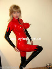 100% Latex Rubber Ganzanzug Sexy Bodysuit Red and Black Anzug Suit Size XS-XXL