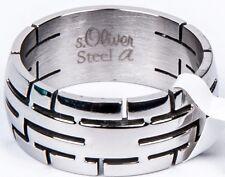 s.Oliver Edelstahl silber Herren Ring breit Neu Gr 66 21 mm SO672 SO672/04