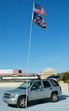 New 28' Flag Pole Fiberglass Telescoping Flagpole Holds 1 or 2 Flags Tailgating