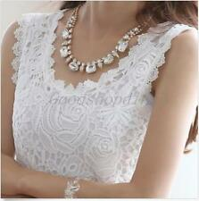 Womens Ladies Lace Tank Top Sleeveless T-shirt Vest Camisole Blouse Tee Tops 2XL