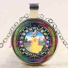 Snow White Stained Cabochon Tibetan silver Glass Chain Pendant Necklace&XP-2683