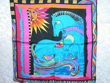 New 100% Charmeuse Silk Scarf Bandana Blue Horses