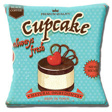 "VINTAGE RETRO CUPCAKE CHOCOLATE CHERRY AQUA OLD MOTTLED 16"" Pillow Cushion Cover"