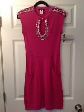 Nanette Lepore Pink Knit Dress With Bead Detail, Size XS NWT!