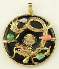 CHINESE 14K SOLID GOLD DRAGON SET WITH RUBY, OPAL, JADE & CORAL ON ONYX PENDANT