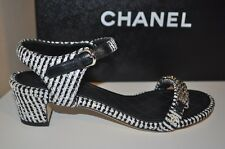 NIB $800+ CHANEL 16P Tweed Ankle Strap Sandals Shoes Black White 36 / 6 CC Logo